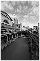 Main Pool of the Roman Bath. Bath, Somerset, England, United Kingdom (black and white)