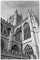Bath Abbey tower. Bath, Somerset, England, United Kingdom (black and white)