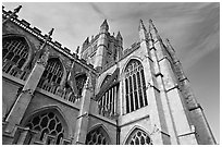 Towering Bath Abbey. Bath, Somerset, England, United Kingdom (black and white)