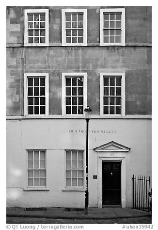 Residential facade. Bath, Somerset, England, United Kingdom (black and white)