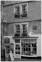 Facade of Sally Lunn House, oldest in Bath (1882). Bath, Somerset, England, United Kingdom ( black and white)