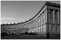 Royal Crescent, sunset. Bath, Somerset, England, United Kingdom ( black and white)