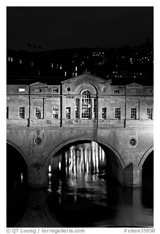 Central section of Pulteney Bridge, covered by shops,  at night. Bath, Somerset, England, United Kingdom (black and white)