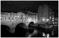 Pulteney Bridge, designed by Robert Adam, at night. Bath, Somerset, England, United Kingdom ( black and white)