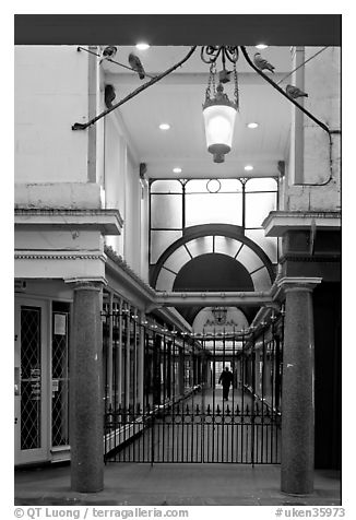 Passage and grid. Bath, Somerset, England, United Kingdom (black and white)