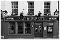 Facade of restaurant and pub. Bath, Somerset, England, United Kingdom (black and white)