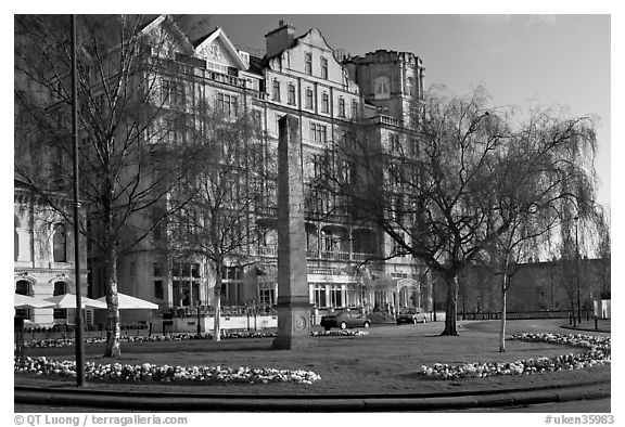 Orange Grove Plaza and Empire Hotel. Bath, Somerset, England, United Kingdom (black and white)
