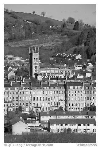 Townhouses and church. Bath, Somerset, England, United Kingdom (black and white)