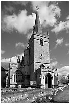 Church, Lacock. Wiltshire, England, United Kingdom (black and white)