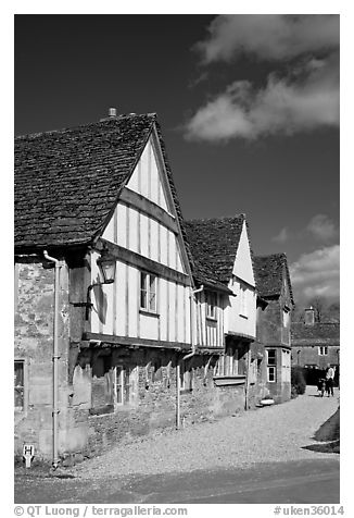 Half-timbered houses, Lacock. Wiltshire, England, United Kingdom (black and white)
