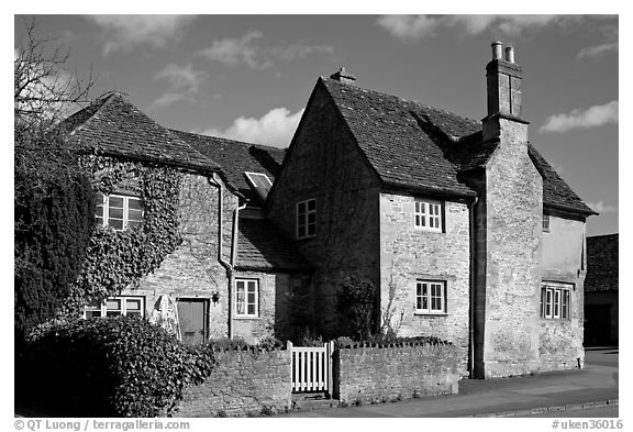 Black And White Picture/Photo: Houses With Roofs Made From