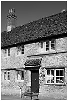 Medieval village stone house,  Lacock. Wiltshire, England, United Kingdom ( black and white)