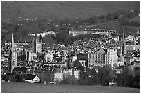 Churches, Abbey, Royal Crescent, early morning. Bath, Somerset, England, United Kingdom ( black and white)