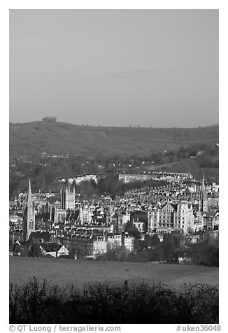 Meadow and city center. Bath, Somerset, England, United Kingdom (black and white)