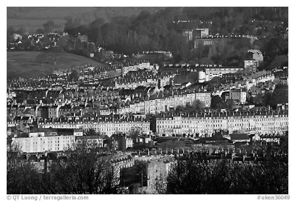 Architectural cohesion of Georgian buildings in Bath Stone. Bath, Somerset, England, United Kingdom (black and white)