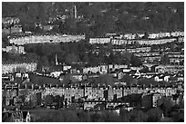 Distant view of rows of typical Georgian terraces. Bath, Somerset, England, United Kingdom (black and white)