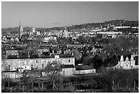 Bath skyline, seen from communal gardens. Bath, Somerset, England, United Kingdom (black and white)