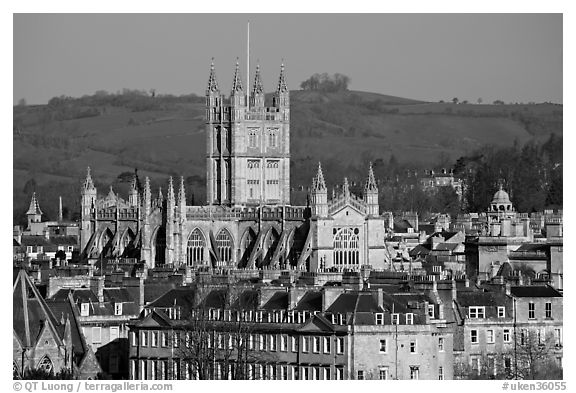 Bath Abbey rising over 18th century buildings. Bath, Somerset, England, United Kingdom (black and white)