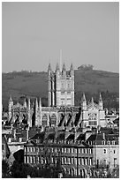 Bath Abbey dominating 18th century houses. Bath, Somerset, England, United Kingdom (black and white)