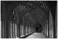 Great Cloister gallery, Canterbury Cathedral. Canterbury,  Kent, England, United Kingdom ( black and white)