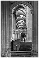 Aisle, Canterbury Cathedral. Canterbury,  Kent, England, United Kingdom ( black and white)