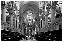 Quire of Canterbury Cathedral, the longest of any English Cathedral, and musicans. Canterbury,  Kent, England, United Kingdom ( black and white)