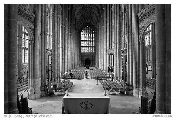 Altar and Nave, Canterbury Cathedral. Canterbury,  Kent, England, United Kingdom (black and white)