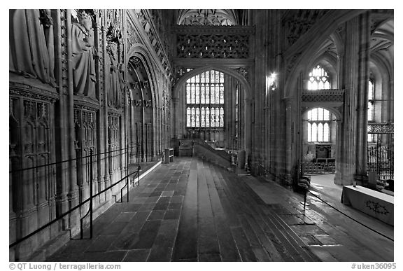 Central crossing, Canterbury Cathedral. Canterbury,  Kent, England, United Kingdom (black and white)