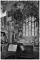 Memorial Book of Names, a page of which is turned daily  in the St Michael Chapel, Canterbury Cathedral. Canterbury,  Kent, England, United Kingdom ( black and white)