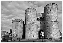 West gate to the medieval town. Canterbury,  Kent, England, United Kingdom ( black and white)