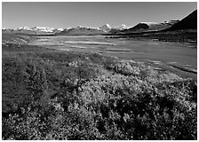 Susitna River and fall colors on the tundra, Denali Highway. Alaska, USA (black and white)