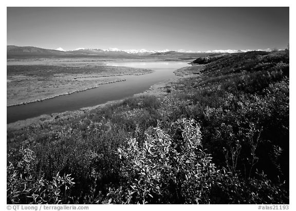Lake and distant mountain range. Alaska, USA (black and white)