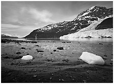 Barry arm and Glacier from Black Sand Beach. Prince William Sound, Alaska, USA ( black and white)