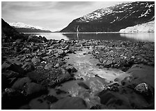 Stream, fjord, glacier, and waterfall, Barry Arm. Prince William Sound, Alaska, USA ( black and white)