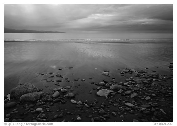Pebbles, beach, and Katchemak Bay. Homer, Alaska, USA (black and white)