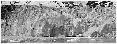 Front of tidewater glacier. Prince William Sound, Alaska, USA (Panoramic black and white)