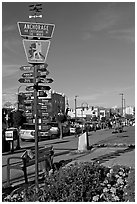 Downtown center with Air Crossroads of the World sign. Anchorage, Alaska, USA ( black and white)