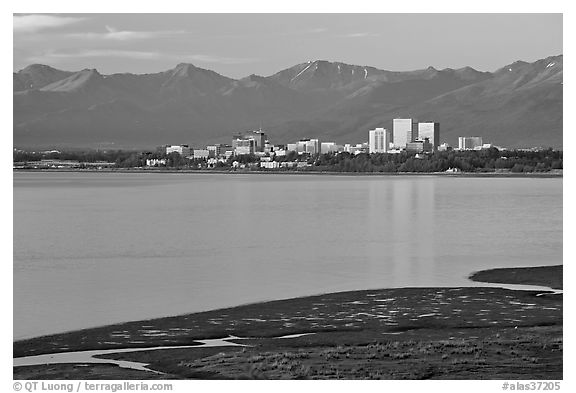 Knik Arm and city skyline. Anchorage, Alaska, USA (black and white)