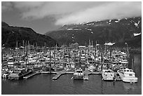 Whittier Harbour and mountains. Whittier, Alaska, USA ( black and white)