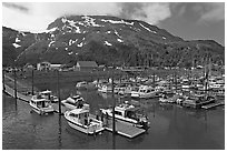 Yachts ready for sailing and harbor. Whittier, Alaska, USA ( black and white)