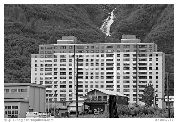 Begich towers and Horsetail falls. Whittier, Alaska, USA (black and white)