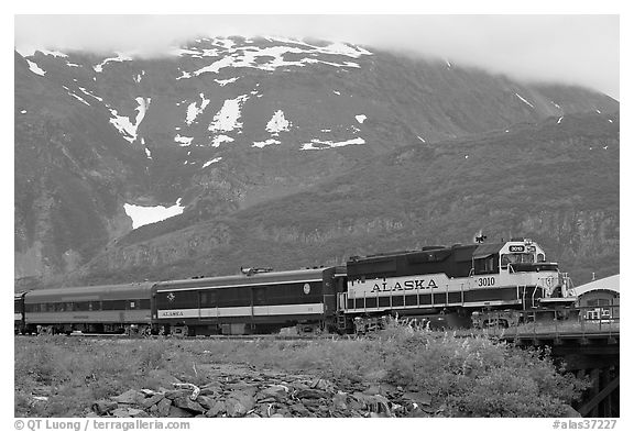 Alaska train. Whittier, Alaska, USA (black and white)