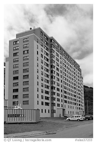 Begich towers, home to half of Whittier population. Whittier, Alaska, USA (black and white)