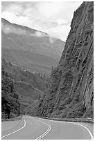 Richardson Highway passing between steep walls, Keystone Canyon. Alaska, USA ( black and white)