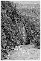 River and rock walls, Keystone Canyon. Alaska, USA ( black and white)