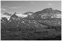 Jagged peaks above Thompson Pass. Alaska, USA (black and white)