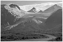 Richardson and Worthington Glacier, afternoon. Alaska, USA ( black and white)