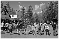 Egg throwing contest on main street. McCarthy, Alaska, USA ( black and white)