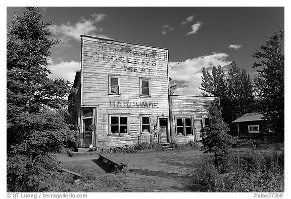 Old hardware store. McCarthy, Alaska, USA (black and white)
