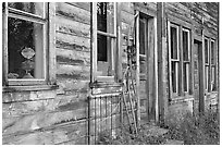 Detail of old wooden building. McCarthy, Alaska, USA ( black and white)